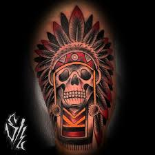 old skull indian tattoo by sketchy lawyer