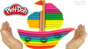 diy how to make play doh rainbow boat art and craft for kids