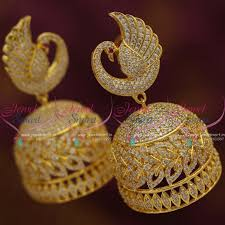 online earrings j7620 big size cz gold plated peacock design jhumka earrings online