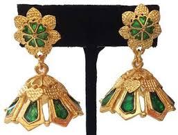 kerala style jhumka earrings kuchipudi temple design kemp jhumka kalanjali collections