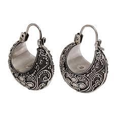 hinged hoop earrings novica 925 sterling silver half moon hinged hoop earrings