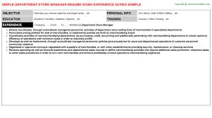 Store Manager Job Description Resume by Department Store Manager Cover Letter