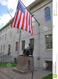 Harvard Flag John Harvard Statue In Harvard University Stock Image Image Of