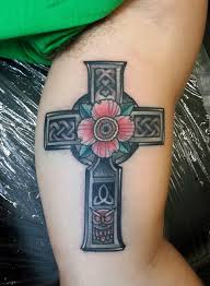 cross tattoo on bicep celtic cross i made on the inner bicep for a memorial of a