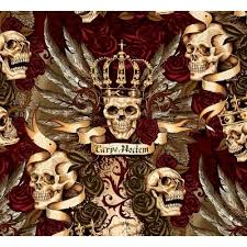 royal vintage skull duggery cotton fabric by henry