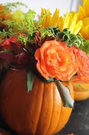 thanksgiving table pumpkin flower centerpieces
