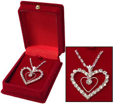 diamond box necklace images Diamond heart necklace red flocked box santa shop gifts buy in jpg