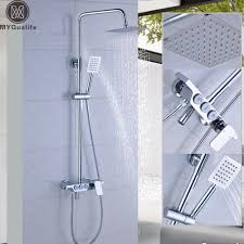compare prices on stainless steel bath set online shopping buy luxury wall mounted rain shower faucets kit square stainless steel top spray and hand shower bath