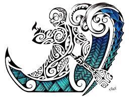 maori tattoo design in colour of a polynesian tiki rowing into
