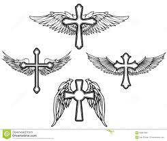 vintage cross and wings vector elements stock vector