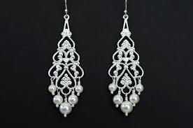 bridal chandelier earrings bridal chandelier earrings pearl chandelier earrings silver