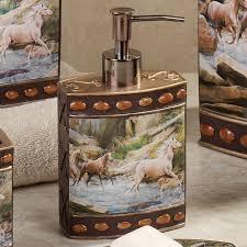 horse canyon lotion soap dispenser multi warm horse bathroom