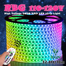 rgb led strip lighting iekov ac 110 120v flexible rgb led strip lights 60 leds m