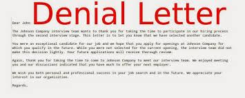 denial letter template samples business letters