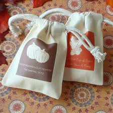 muslin favor bags personalized fall themed silhouette muslin bag ecopartytime