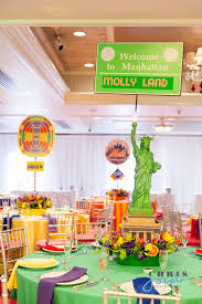 New York Themed Centerpieces by Candyland Theme Bat Mitzvah In New Jersey Mazelmoments Com