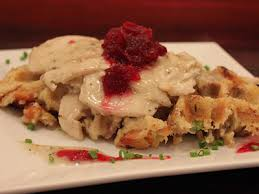 turkey dinner in a waffle forms the waffle itself top