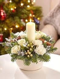 Centerpieces For Christmas by Diy Christmas Candle Centerpieces Table White Pillar Candles Tree