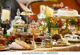 New Years Table Decorations Dinner Table Settingchristmas Holiday Decorations Year Stock Photo