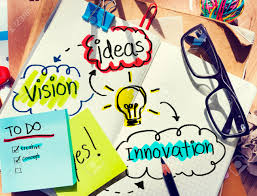 messy office desk with ideas and vision stock photo picture and