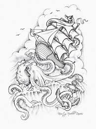 pirate ship and octopus tattoo design photos pictures and