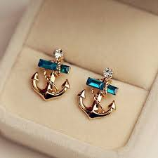 anchor earrings pair of sweet faux decorated anchor shaped stud earrings