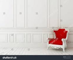red classic armchair against white wall stock illustration