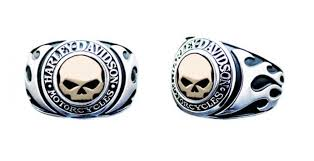 harley davidson s signet ring flames willie g skull 14kt gold