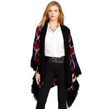 black friday ralph lauren ralph lauren plaid fringed poncho lyst