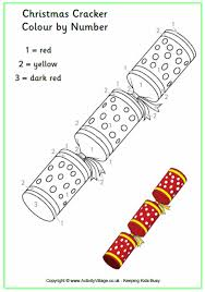 christmas cracker colour number christmas colouring pages