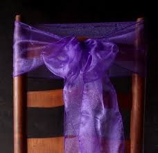 purple chair sashes purple organza chair sashes bows table runners 6 5in x 9ft