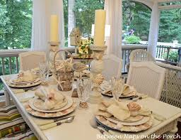 Table Setting Chargers - beach themed table setting with shell chargers