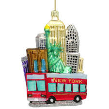new york city tour glass ornament