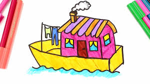 drawing and coloring a boat house learn types of houses coloring