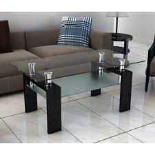 frosted glass coffee table katie rectangular clear and frosted glass coffee table in black