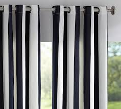 White Outdoor Curtain Panels Sunbrella Awning Stripe Indoor Outdoor Grommet Drape Pottery Barn