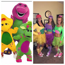 diy halloween costume bj barney and baby bop spray painted