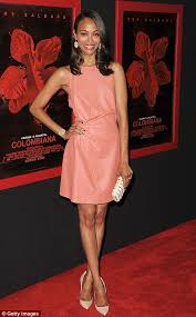 zoe saldana steals the spotlight in pink leather at the los