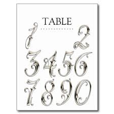 any color table numbers fancy silver postcard number fonts font