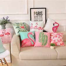 18 inch summer flamingo throw pillow case sofa bed home decor