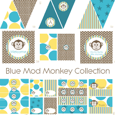 mod baby shower mod monkey decorations for birthday party or baby shower boys
