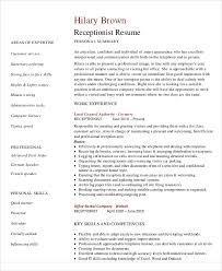 10 receptionist curriculum vitae templates 9 free word pdf