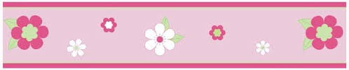 Kids Pink And Green Flowers Wallpaper Border For Girls Room Or Nursery - Wall borders for kids rooms