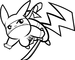 pikachu with ninja costume style coloring pages cartoon cute