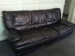 canapé cuir noir 3 places canapé convertible en cuir noir 3 places 90 meuble d occasion