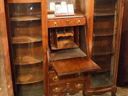 Double Bookcase Furniture Home Oak Slant Front Secretary With Double Bookcase
