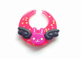 dark pink moon bunny hair clip angel bunny brooch black wings