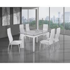 chaises table manger table à manger en verre 6 chaises simili cuir achat vente