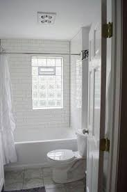 Bathroom Shower Window We Remodeled White Subway Tile Gray Grout Glass Block Window