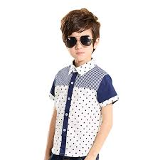 new 2016 summer boys shirts contrast color short sleeve navy blue